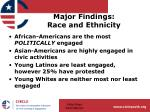 major findings race and ethnicity