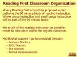 reading first classroom organization