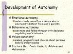 development of autonomy