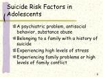 suicide risk factors in adolescents