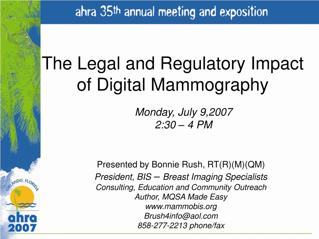 the legal and regulatory impact of digital mammography l.