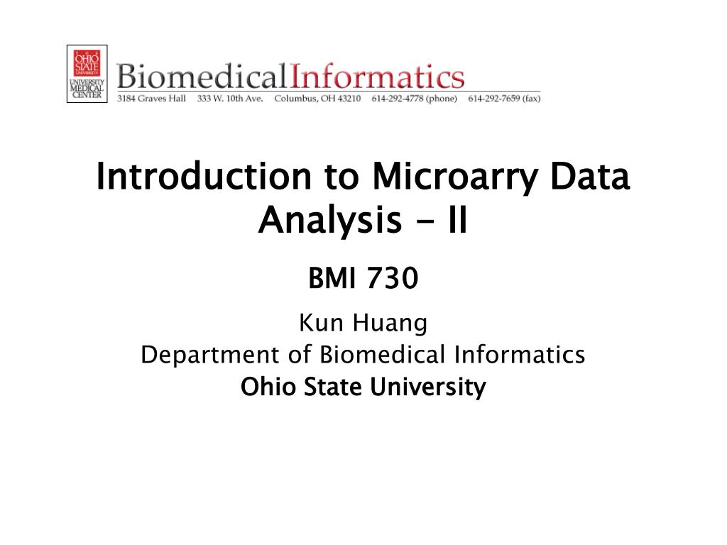 introduction to microarry data analysis ii bmi 730 l.