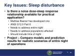 key issues sleep disturbance38