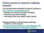 online access to research roadmap material