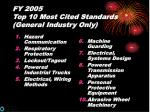 fy 2005 top 10 most cited standards general industry only