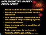 implementing safety excellence