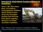 improperly used quick couplers linked to accidents