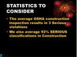 statistics to consider