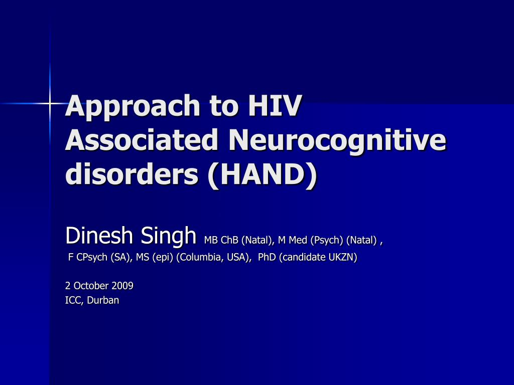 approach to hiv associated neurocognitive disorders hand l.