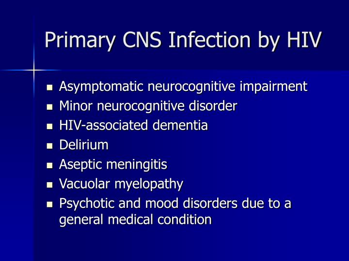 Primary cns infection by hiv