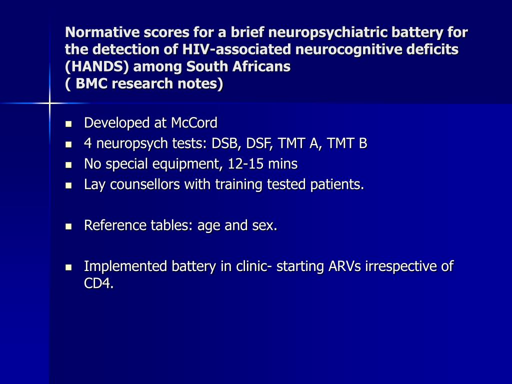 Normative scores for a brief neuropsychiatric battery for the detection of HIV-associated neurocognitive deficits (HANDS) among South Africans