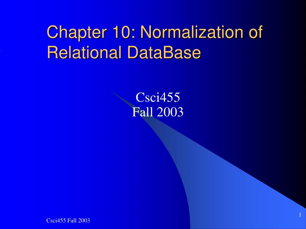 chapter 10 normalization of relational database l.