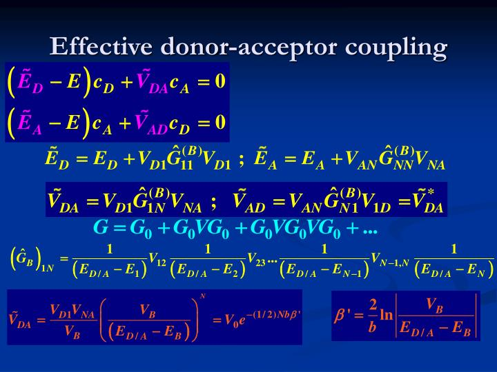 Effective donor-acceptor coupling