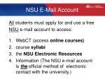 nsu e mail account