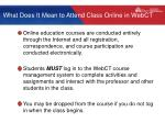 what does it mean to attend class online in webct