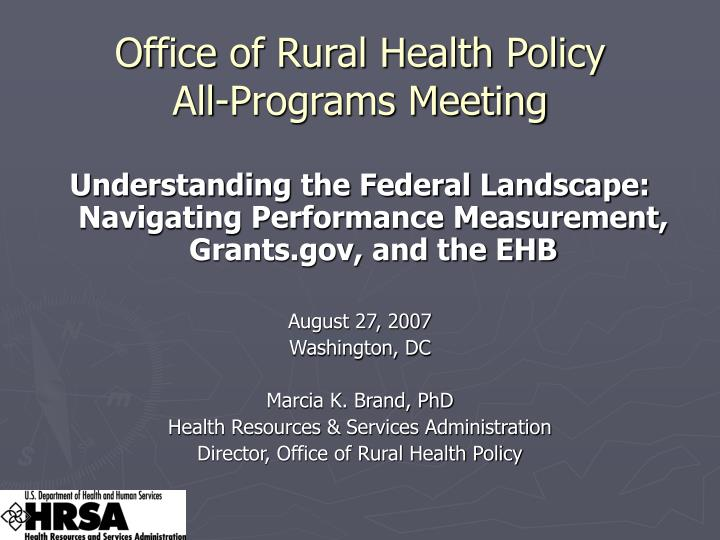 office of rural health policy all programs meeting n.