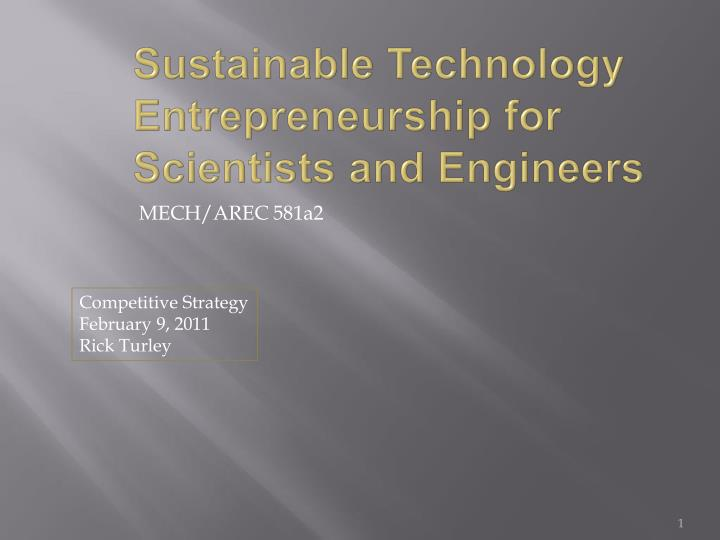 sustainable technology entrepreneurship for scientists and engineers n.