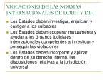 violaciones de las normas internacionales de ddhh y dih