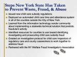 steps new york state has taken to prevent waste fraud abuse
