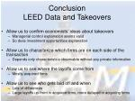 conclusion leed data and takeovers