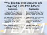 what distinguishes acquired and acquiring firms from others