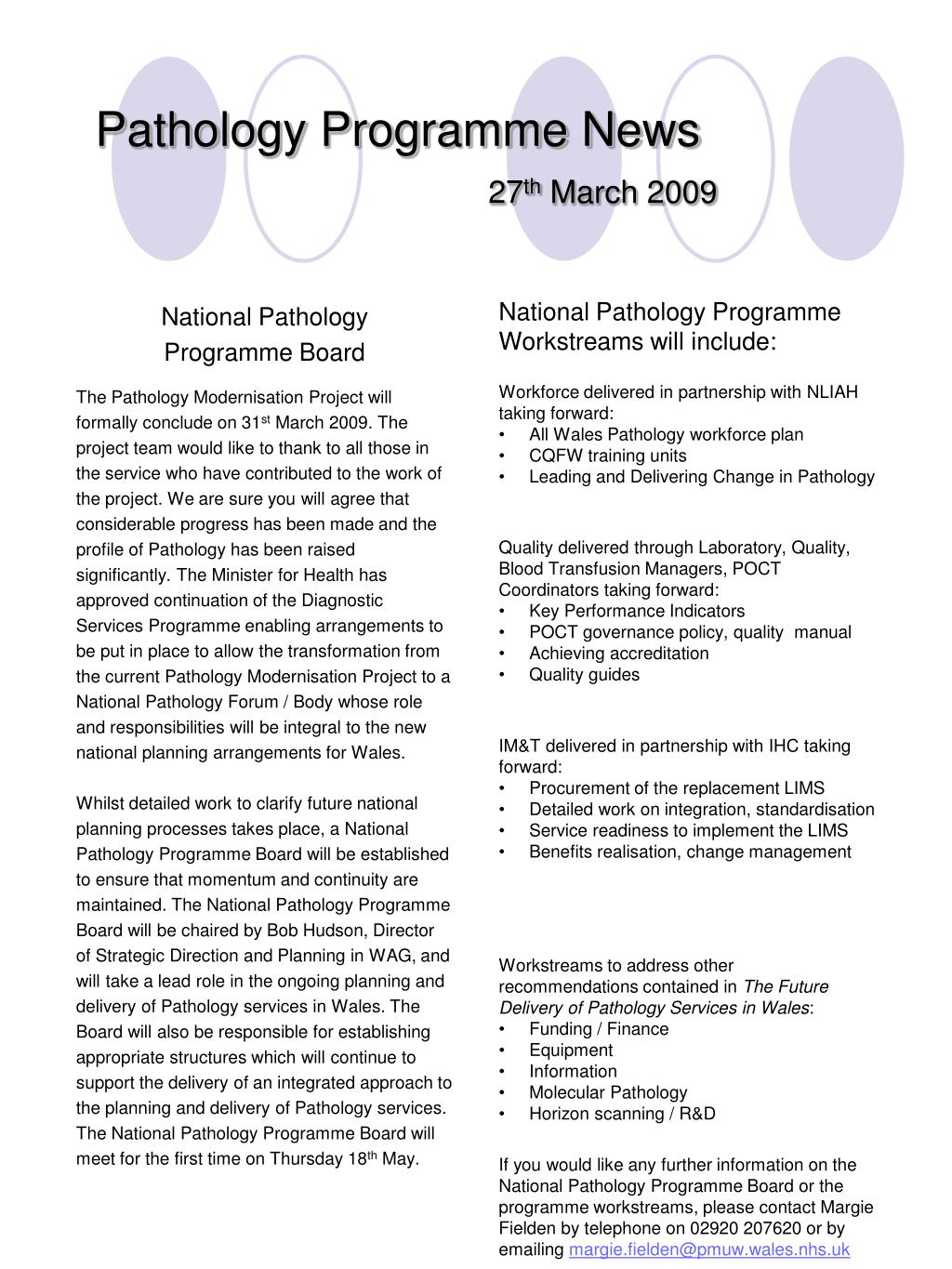 pathology programme news 27 th march 2009 l.