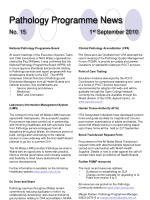 pathology programme news no 15 1 st september 2010
