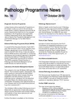 pathology programme news no 16 1 st october 2010
