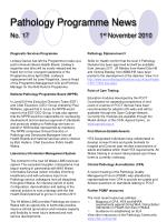 pathology programme news no 17 1 st november 2010
