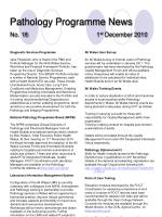 pathology programme news no 18 1 st december 2010