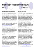 pathology programme news no 23 1 st may 2011