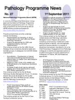 pathology programme news no 27 1 st september 2011