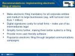 recommendations implementing electronic filing of returns