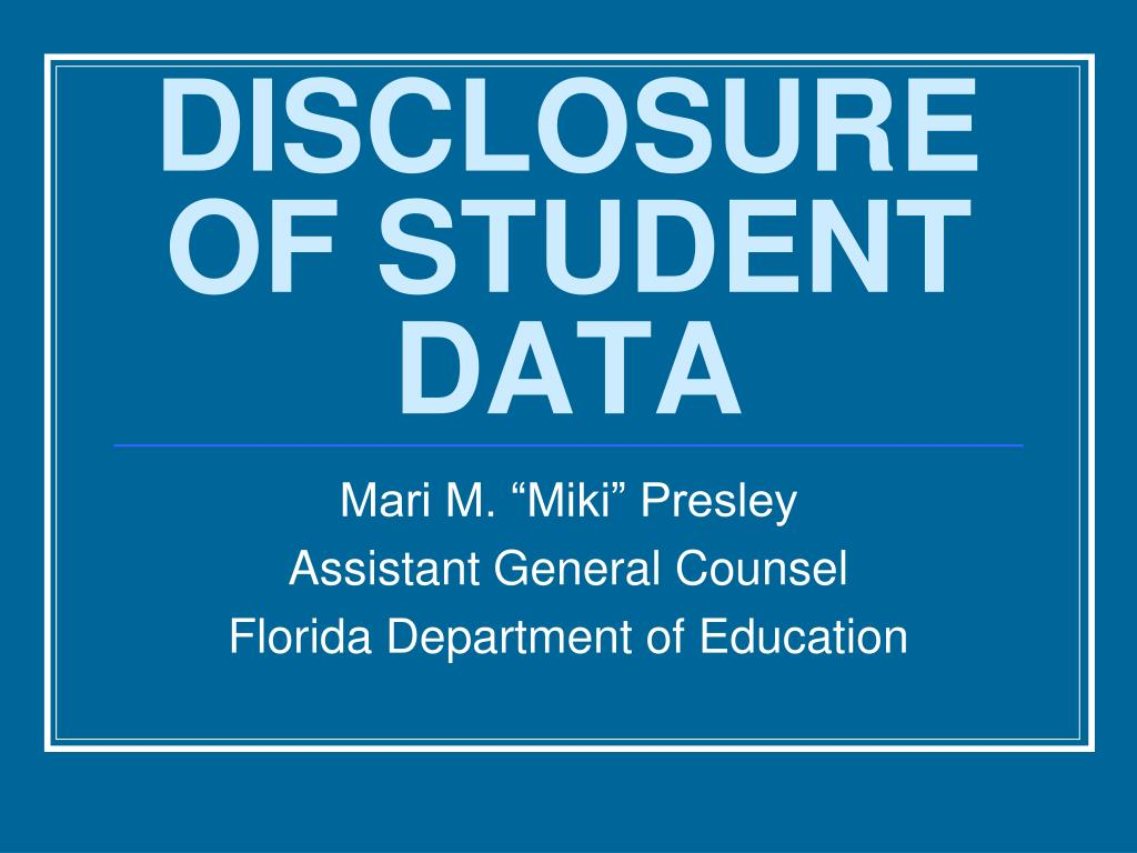 disclosure of student data l.