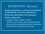 exceptions research22