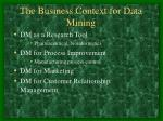 the business context for data mining