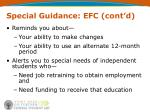 special guidance efc cont d