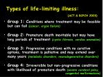 types of life limiting illness act rcpch 2003