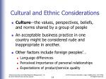 cultural and ethnic considerations