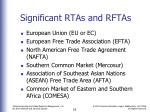 significant rtas and rftas