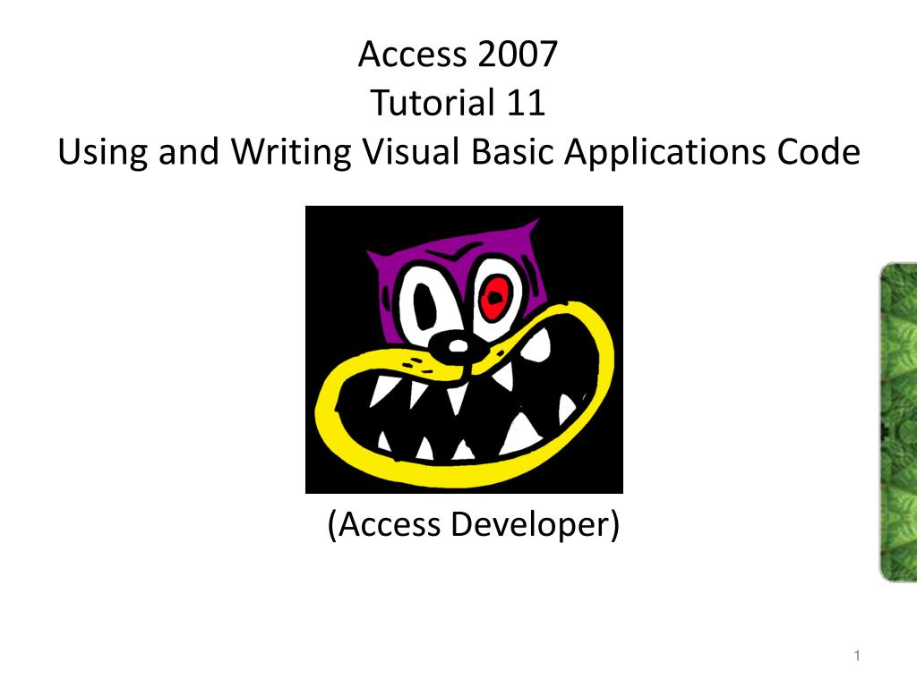 access 2007 tutorial 11 using and writing visual basic applications code l.