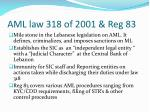 aml law 318 of 2001 reg 83