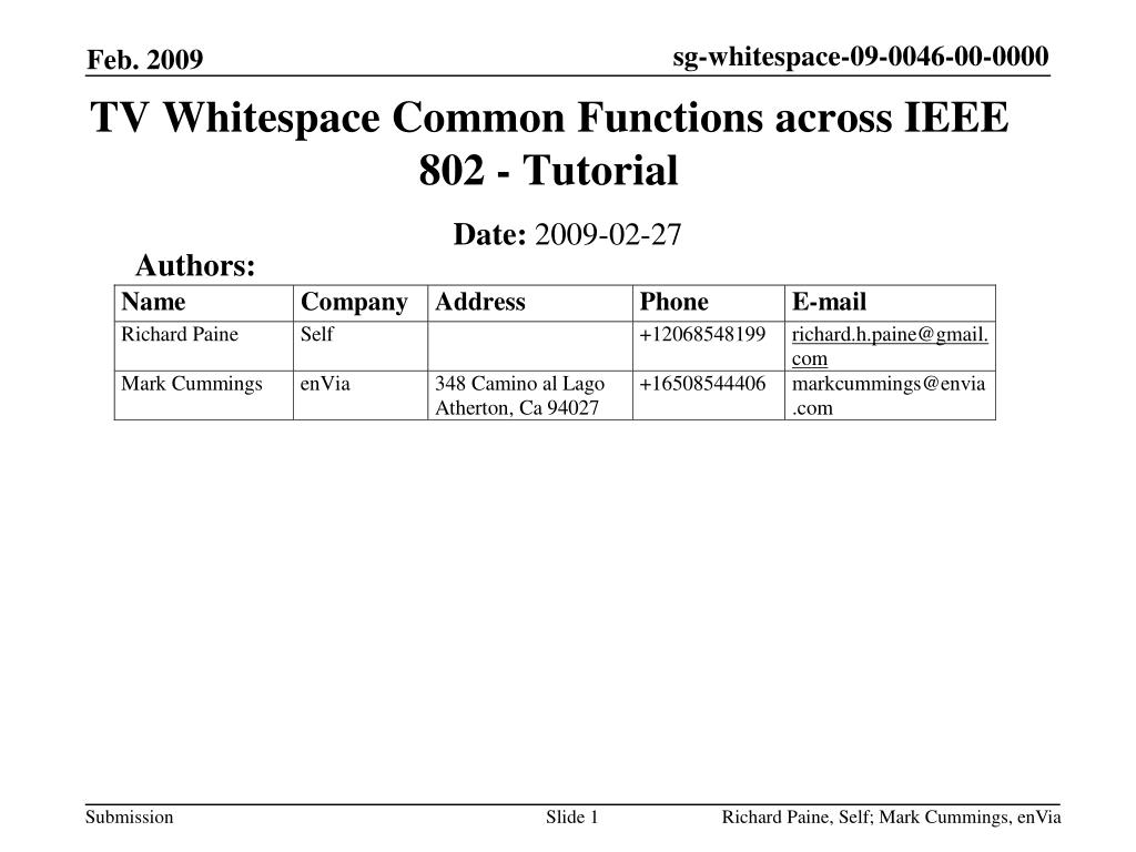 tv whitespace common functions across ieee 802 tutorial l.