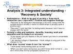 analysis 3 integrated understanding recovery society