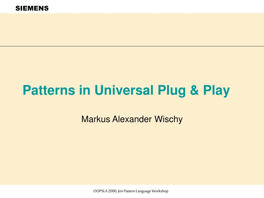 patterns in universal plug play l.
