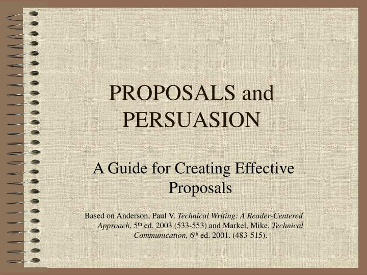proposals and persuasion n.