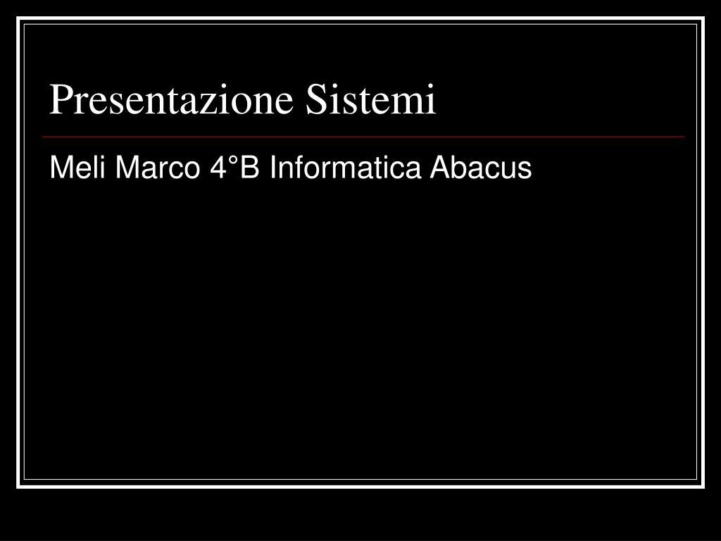 presentazione sistemi