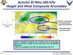 autumn el nino 200 hpa height and wind composite anomalies