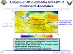 autumn el nino 850 hpa gph wind composite anomalies