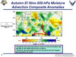 autumn el nino 850 hpa moisture advection composite anomalies